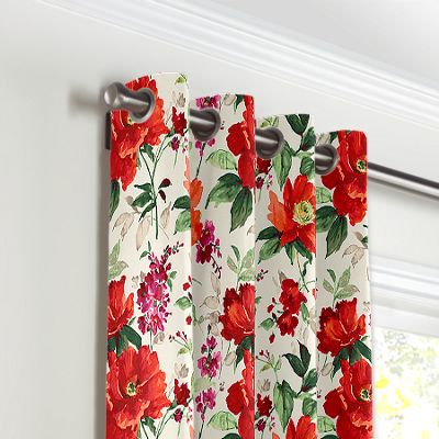 Bold Green & Red Floral Grommet Curtains