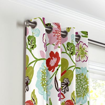 Pink & Purple Floral Grommet Curtains