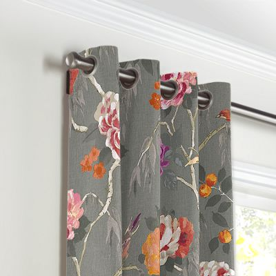 Painterly Pink & Gray Floral Grommet Curtains
