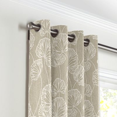 Beige Fan Leaf Grommet Curtains