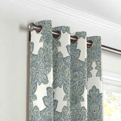 Paisley-Style Aqua Damask Grommet Curtains