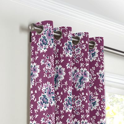 Purple & Teal Leaf Grommet Curtains