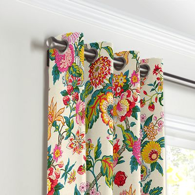 Candy-Colored Chinoiserie Grommet Curtains