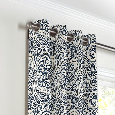 Navy Blue Paisley Grommet Curtains