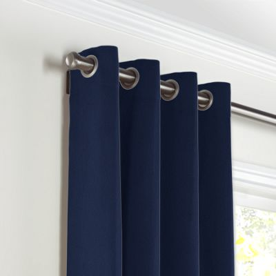 Navy Blue Velvet Grommet Curtains