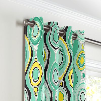 Lime Green & Yellow Abstract Grommet Curtains
