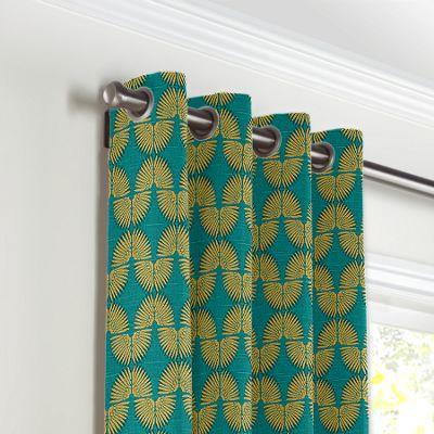 Metallic Gold & Teal Fan Grommet Curtains