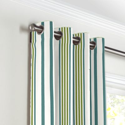 White, Teal & Green Stripe Grommet Curtains