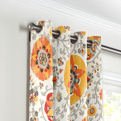 Orange Suzani Grommet Curtains