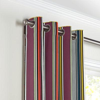 Purple Multicolor Striped Grommet Curtains