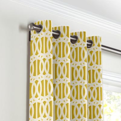 Bright Yellow Trellis Grommet Curtains