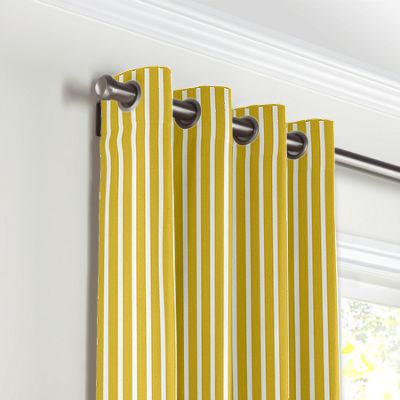 Bright Yellow Thin Stripe Grommet Curtains