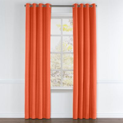 Solid Coral Linen Grommet Curtain