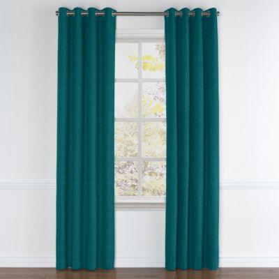 Dark Teal Linen Grommet Curtain