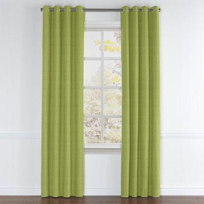 Grass Green Slubby Linen Grommet Curtain
