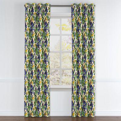 Green & Blue Watercolor Grommet Curtain
