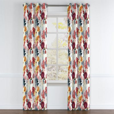 Coral Pink Watercolor Grommet Curtains