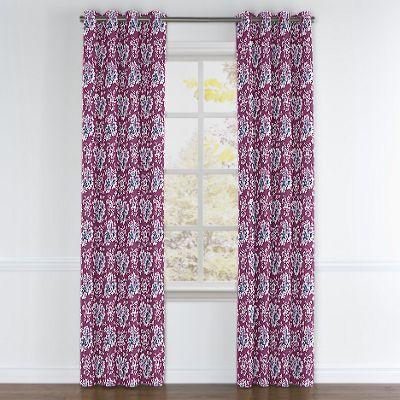 Purple & Teal Leaf Grommet Curtains