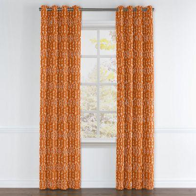 Orange and White Diamond Grommet Curtain