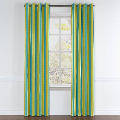 Lime & Teal Stripe Grommet Curtain