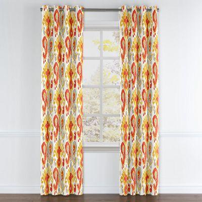 Red & Orange Ikat Grommet Curtain