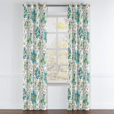 Aqua Blue Suzani Grommet Curtains