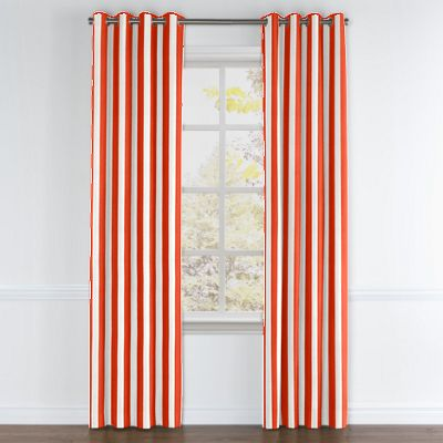 Red Awning Stripe Grommet Curtains