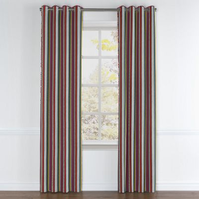 Purple Multicolor Striped Grommet Curtains