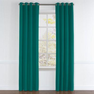 Teal Sunbrella® Canvas Grommet Curtains
