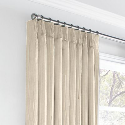 Beige Pinstripe Euro Pleated Curtains