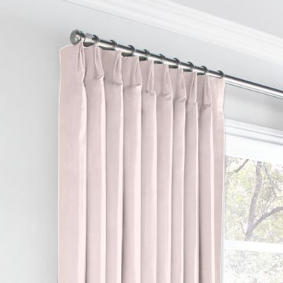 Pale Pink Linen Euro Pleated Curtains