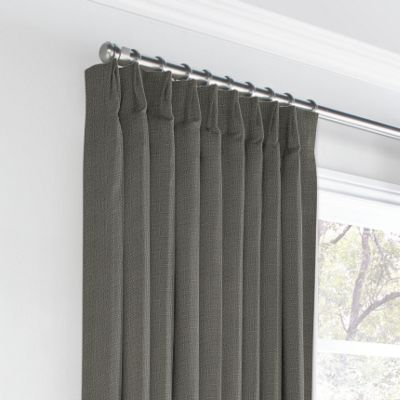 Charcoal Gray Linen Euro Pleated Curtains