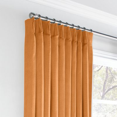Burnt Orange Linen Euro Pleated Curtains