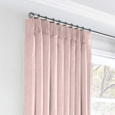 Pastel Pink Linen Euro Pleated Curtains