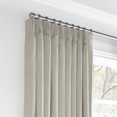Beige Slubby Linen Euro Pleated Curtains