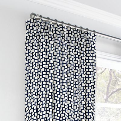 Navy Blue Square Trellis Euro Pleated Curtains