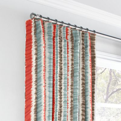 Aqua & Red Ikat Stripe Euro Pleated Curtains