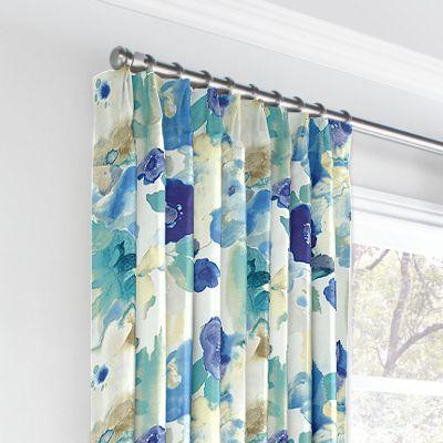 Aqua & Blue Watercolor Euro Pleated Curtains