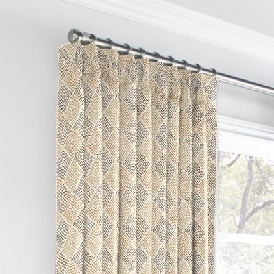 Beige Diamond Block Print Euro Pleated Curtains