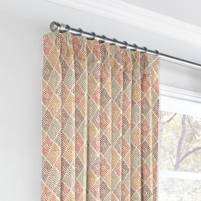 Orange Diamond Block Print Euro Pleated Curtains