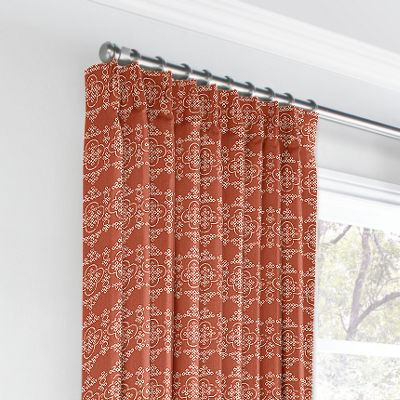 Orange Quatrefoil Block Print Euro Pleated Curtains