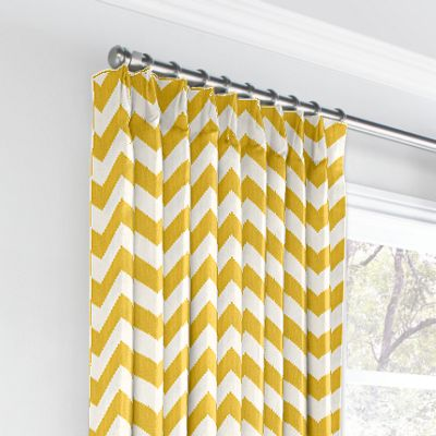 Bright Yellow Chevron Euro Pleated Curtains