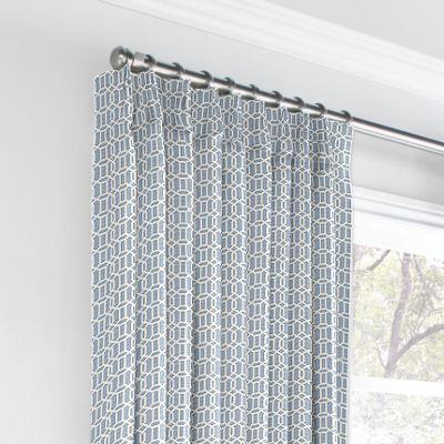 Sky Blue Lattice Euro Pleated Curtains