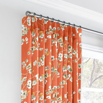Orange Cherry Blossom Euro Pleated Curtains