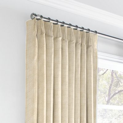 Silvery Tan Metallic Linen Euro Pleated Curtains