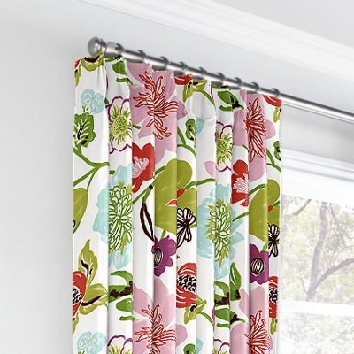 Pink & Purple Floral Euro Pleated Curtains
