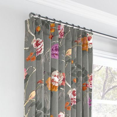 Painterly Pink & Gray Floral Euro Pleated Curtains