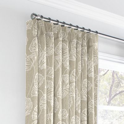 Beige Fan Leaf Euro Pleated Curtains
