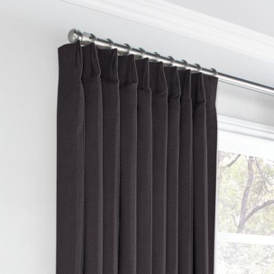 Charcoal Gray Velvet Euro Pleated Curtains