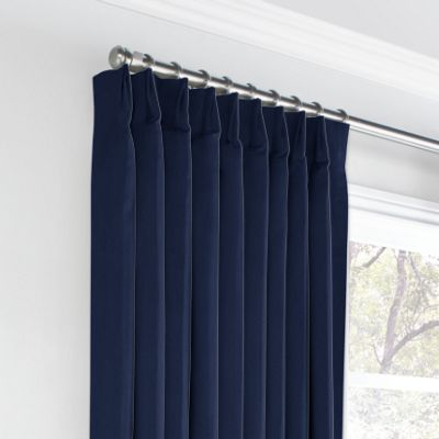 Navy Blue Velvet Euro Pleated Curtains